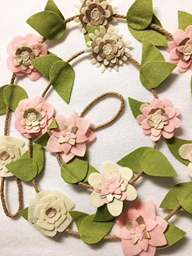 Pink Marionette - Blush Pink Flower Garland, Felt Flower Decoration