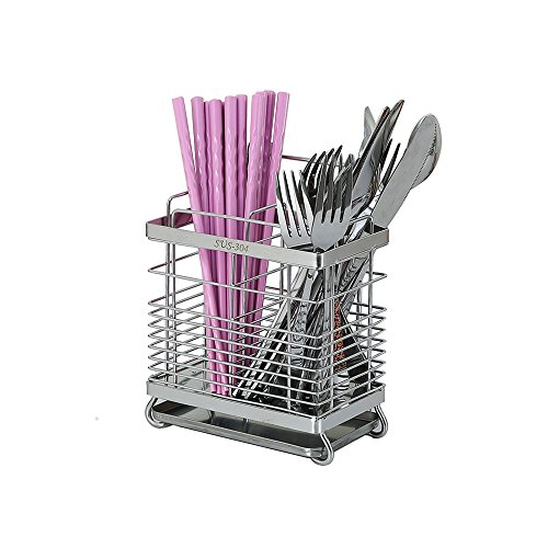 Kitchen Utensils Drying Rack 304 Stainless Steel Square Spoon Knife Fork Case Sink Basket Rack Organizer Storage Stand Holder (Drying Stainless Steel Utensil Rack)