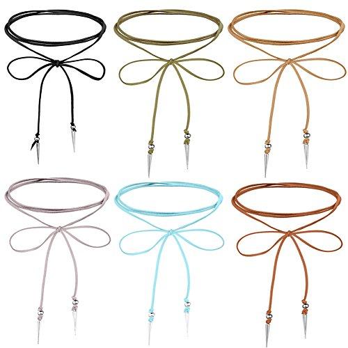 Leather Velvet Lariat Choker Necklace