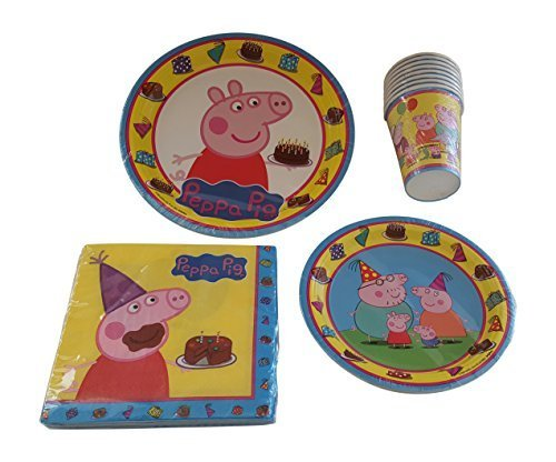 Peppa Pig Party Supply Pack for 8 Guests Including Luncheon Plates, Dessert Plates, Napkins and Cups