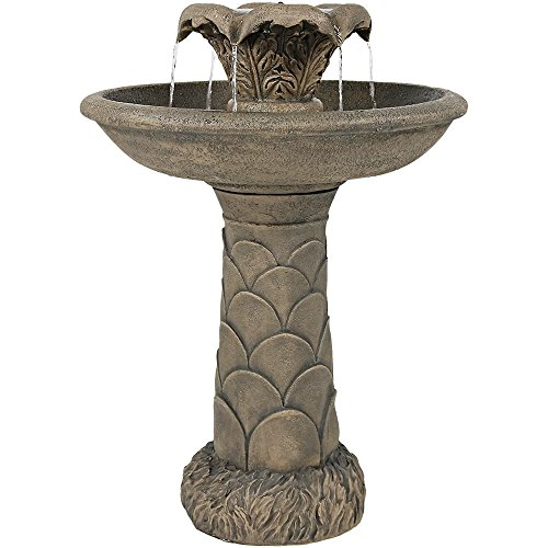 Sunnydaze 2-Tier Blossoming Spring Flower Birdbath Outdoor Water Fountain, 27 Inch - Birdbath Tier 2
