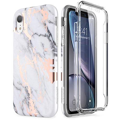 SURITCH Case for iPhone XR, [Built-in Screen Protector] Gold Marble Full-Body Protection Shockproof Rugged Bumper Protective Cover Compatible with Apple XR 6.1 Inch (Gold Marble)