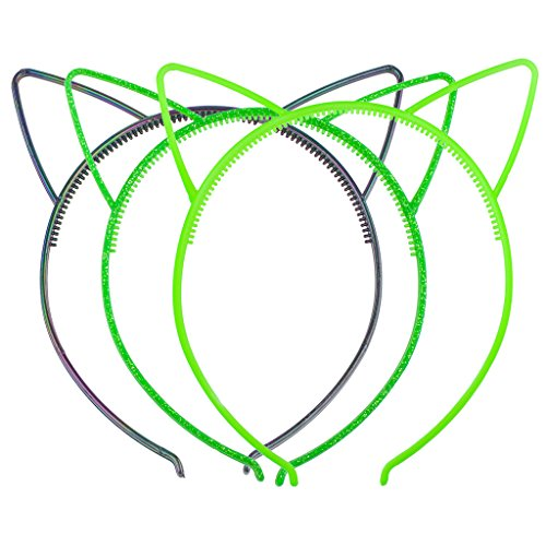 Lux Accessories Shades of Green Cat Ear Headband for Girls Party Favor Set (3pcs)
