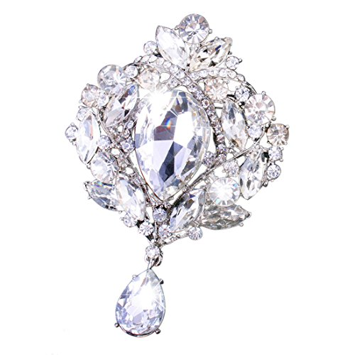 - Yilanair Wedding Bridal Big Crystal Rhinestone Bouquet Brooch Pin for Women (Silver)