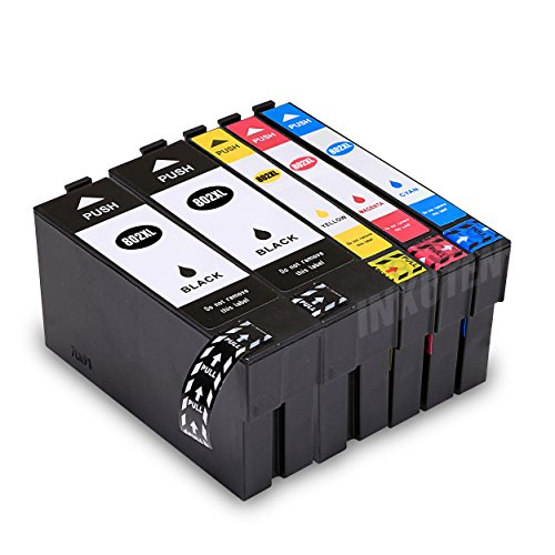 INKUTEN Remanufactured Ink Cartridge Replacement for 802XL High Yield (2 Black 1 Cyan 1 Magenta 1 Yellow, 5-Pack) Compatible With WorkForce Pro WF-4730, WF-4720, WF-4740, WF-4734