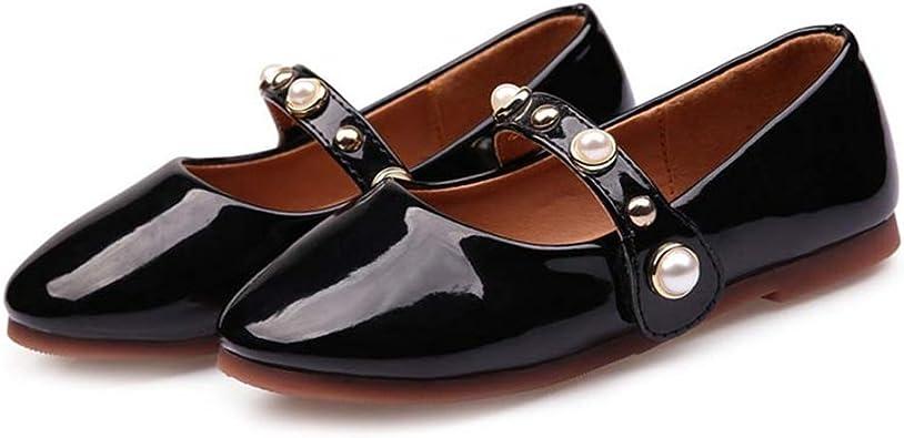 F-OXMY Toddler Little Girls Bowknot T-Strap Dress Shoe Comfort Non-Slip Shiny Mary Jane Ballet Flat Shoes
