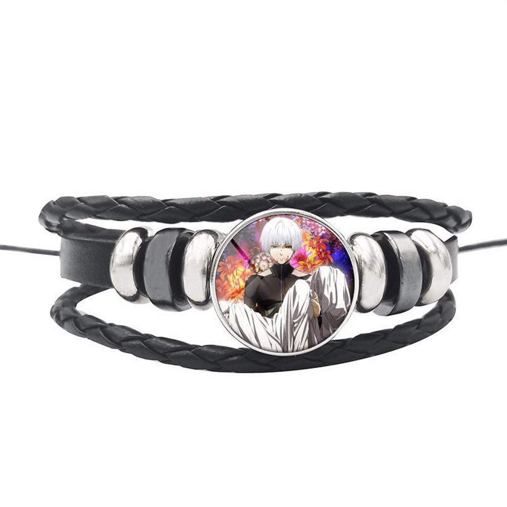 ALTcompluser Anime Tokyo Ghoul Bracelet Black Braided Leather Bracelet for Women//Men Glass Cabochon Ornament
