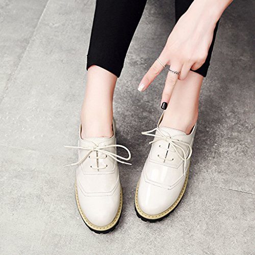 größe 36 Student Ferse Beige Leder Schuhe weiblich College britischen HWF Mitte Damenschuhe flache Damenschuhe Farbe Stil Frühling Casual einzelne Unp8g