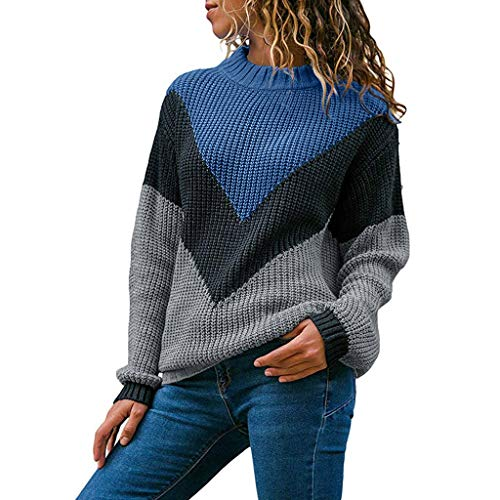 Kulywon Women Round Neck Color Block Long Sleeve Patchwork Knitted Sweater Tops Pullover Jumper Blue