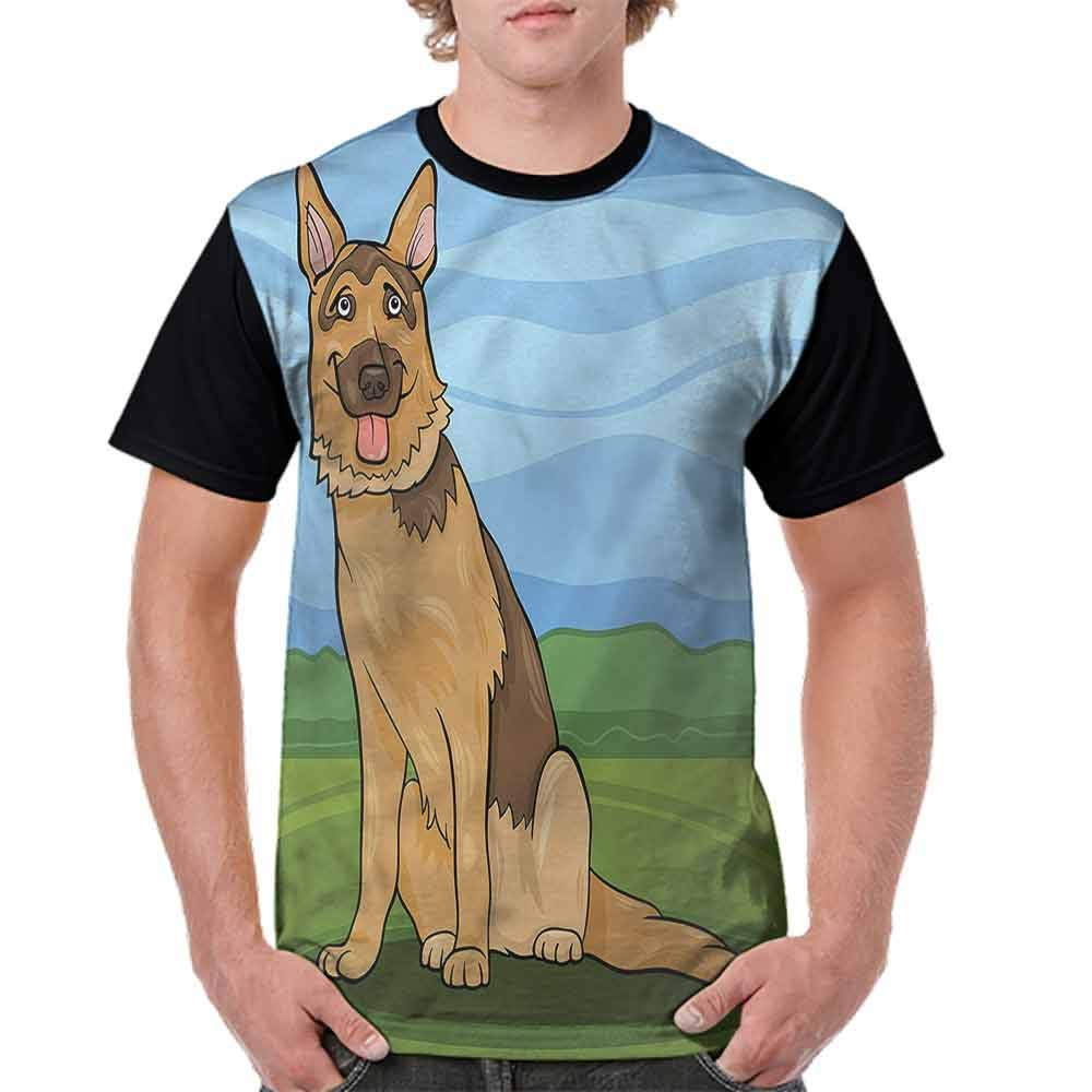 BlountDecor Printed T-Shirt,Green Grass Meadow Fashion Personality Customization
