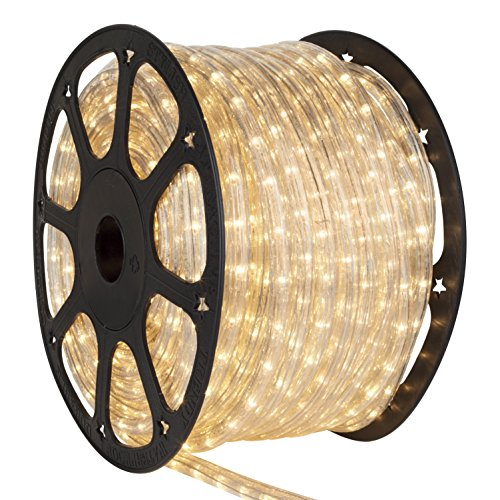 Wintergreen Lighting Incandescent Rope Light Kit – Light Rope Outdoor, Christmas Light Rope Light Color – Non LED Rope Light, Includes Power Cord, 120V, ½ Inch, 2-Wire (150' Spool, (3 Point Mount Kit)