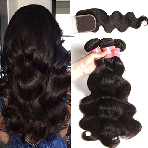 Sunber Brazilian Virgin Body Wave Weft 4Bundles 8-30inch 100% Unprocessed Virgin Human Hair Extensions Natural Color (100+/-5g)/pc (14 16 18+12free part closure)