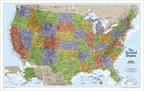 United States Explorer Tubed National Geographic Reference Map - Us map with geographical features
