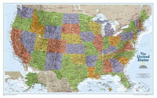 Laminated Map Explorer - National Geographic: United States Explorer Wall Map - Laminated (32 x 20.25 inches) (National Geographic Reference Map)