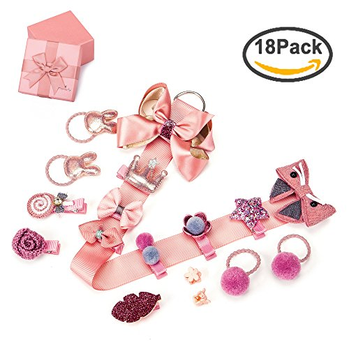 18pc Baby Girls Ribbon Hair Bow Clips Barrettes Hair Tie Head Bands Ropes Hair Holder for Girl Teens Kids Babies Toddlers Hot Pink