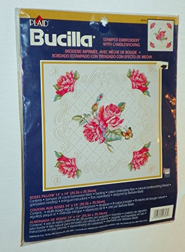 ROSES PILLOW (Stamped Embroidery with Candlewicking) PLAID Bucilla Kit #42723 ()