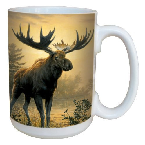 Golden Moose Coffee Mug - Large 15-Ounce Ceramic Cup, Full-Size Handle - by James Hautman - Moose Lovers Gift - Tree-Free Greetings 79137 -