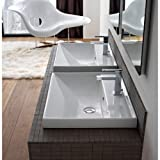 Scarabeo 3004-Three Hole ML Square Ceramic Self Rimming/Wall Mounted Bathroom Sink, White
