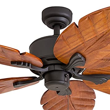 Prominence Home 80020-01 Willow View Tropical Ceiling Fan, Hand-Carved Wooden Blades, 52 inches, Bronze