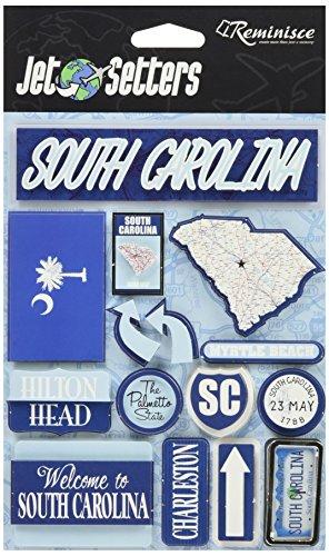 Reminisce Jet Setters Self-Adhesive Epoxy Embellishments-South Carolina