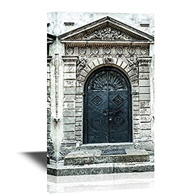Doors Canvas Wall Art - Antique Metal Door with a Porch and Steps - Gallery Wrap Modern Home Art | Ready to Hang - 12x18 inches