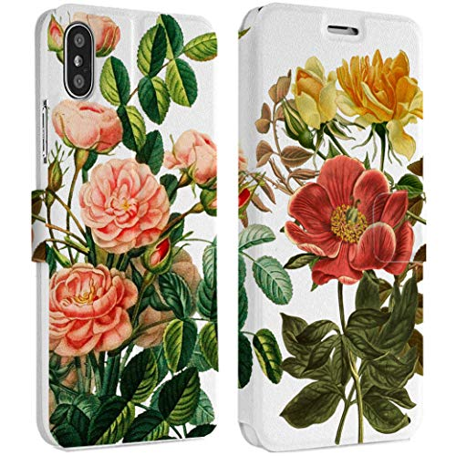 Wonder Wild Flower Print iPhone Wallet Case X/Xs Xs Max Xr Case 7/8 Plus 6/6s Plus Card Holder Accessories Smart Flip Hard Design Protection Cover Peonies Rose Anemone Floral Blooming Girly Drawn