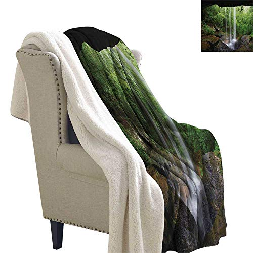 Jinguizi Natural Cave Blanket Small Quilt Still Waterfall in The Forest in Northern Alabama Habitat Ecosystem Scenery for Bed Couch Sofa Chair 60x32 Inch Green Brown