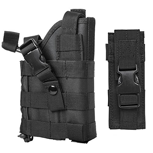 - M1SURPLUS Black Color MOLLE Holster Free MOLLE Compatible Magazine Pouch/The Holster Fits Colt Kimber S&W SIG para Rock Island .45 1911 Ruger P Series SR9 SR40 American Full Size Pistols