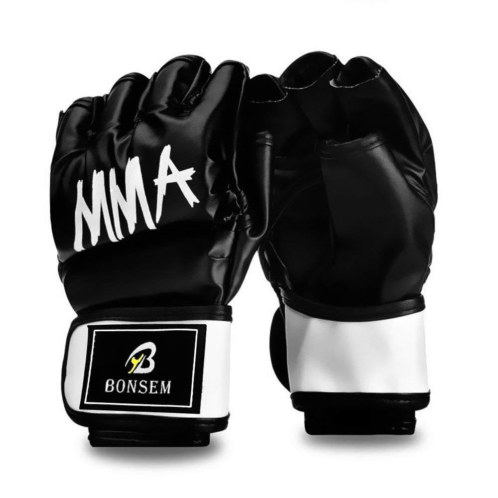 半分指テコンドーボクシンググローブMMA UFCパンチバッグタイジムスパーリングGrappling Fightパンチ究極耐熱手袋レザーグローブメンズレディース B077KMMP2Y ブラック Large