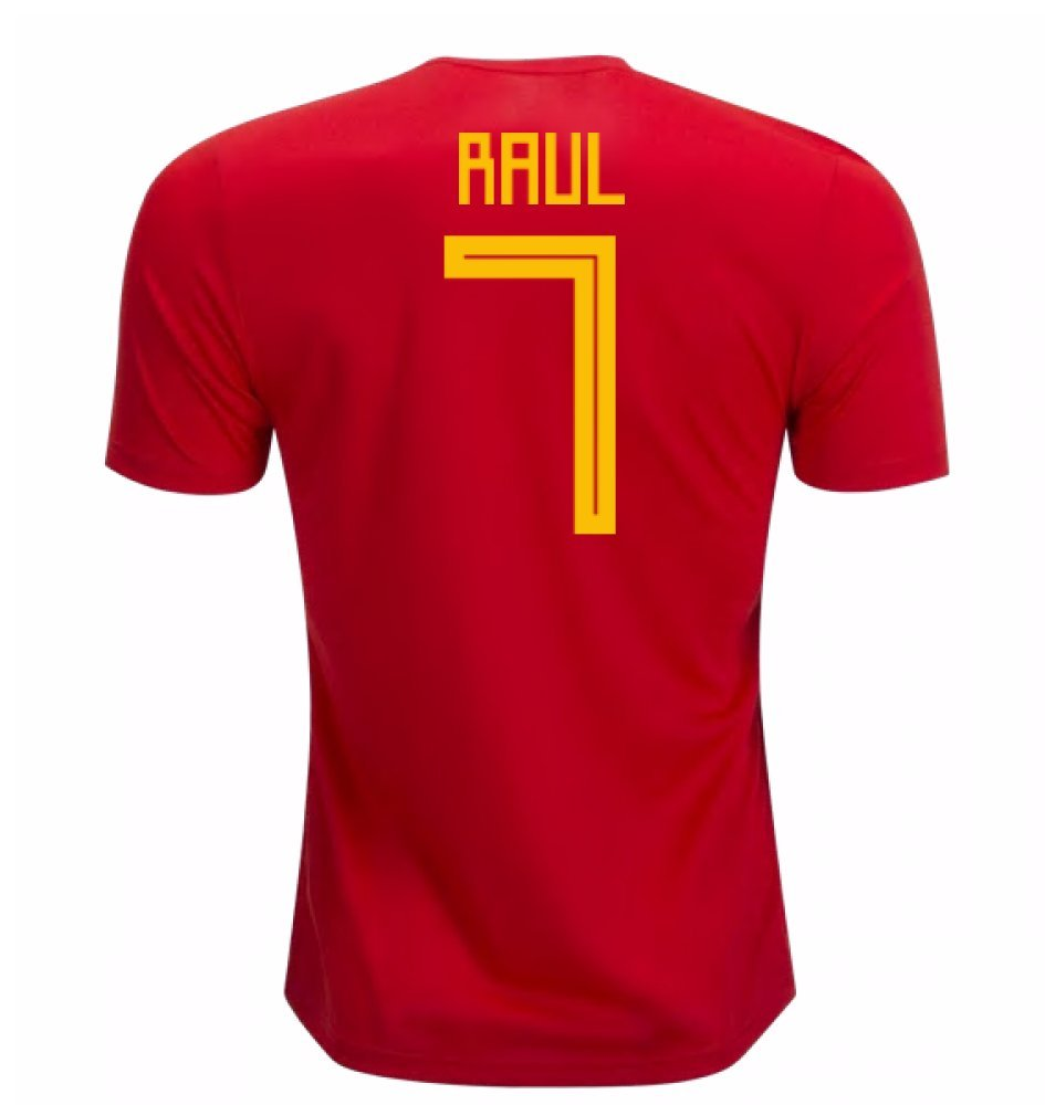 2018-19 Spain Home Football Soccer T-Shirt Trikot (Raul 7) - Kids