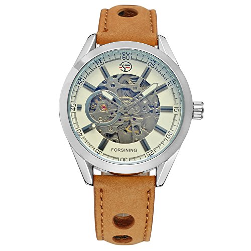 Amazon.com: FORSINING Mens Exposed Mechanical Vintage Skeleton Clock Male Antique Steampunk Automatic Leather Watches: Watches