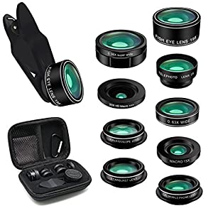iPhone Camera Lens Kit 9 in 1 Camera Lenses for iPhone, Samsung, All Smartphones | Camera Phone Lens Kit Includes Super Wide Angle Lens, Macro Lens, Fisheye, Telephoto, CPL, Starburst, Kaleidoscope