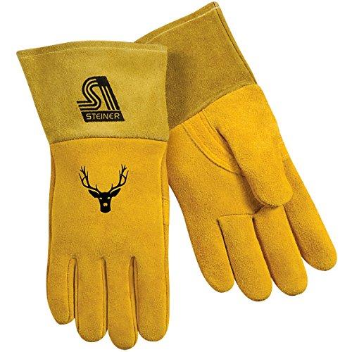 Steiner 02276-L MIG Gloves, Gold Soft-Buck II Reverse Grain Deerskin, Foam/Fleece Lined Back 4-Inch Cuff, Large