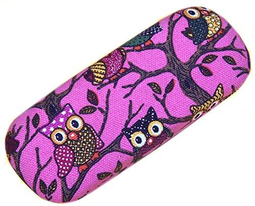Multi Pink Glass (Lesirit Print Owl Hard Shell Eyeglass Case (Hot Pink))