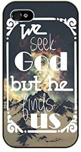 We seek God but he finds us - Vintage mountains - Bible verse IPHONE 5C black plastic case / Christian Verses