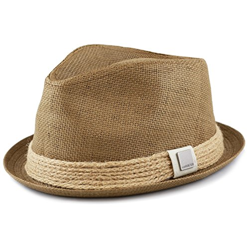 Raffia Fedora Hat (THE HAT DEPOT Womens Short Brim Sun Straw Fedora Hat with Raffia Band (L (L/XL), Khaki))