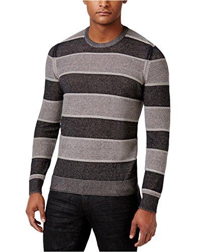 INC Deep Black Mens Striped Knit Crewneck Sweater Gray - Knit Crewneck Sweater