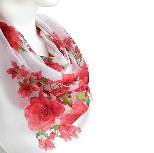 White Scarlet Scarf Spring Women's Fashion Accessories Light Cotton Large Square Floral Print Scarf Shawl Wrap 38 x 38 inches