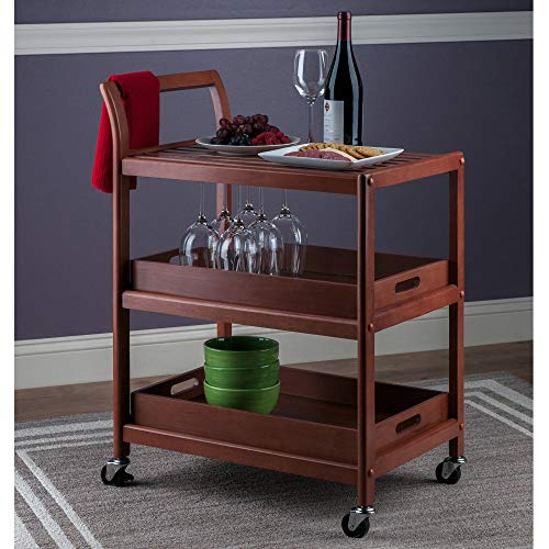 Serving Cart for Home, Kitchen Trolley Cart, Utility Rolling Serving Carts with 3 Tier Storage Shelves, Handle Rack, Lockable Casters Wheels Kitchen Carts Island with Removable Wood Box Containers (Cart Antique Rolling)