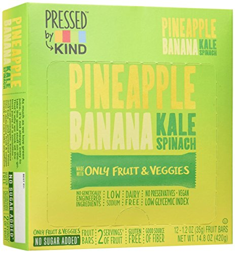 Bar Pineapple - Pressed by KIND Fruit Bars, Pineapple Banana Kale Spinach, 12 Count