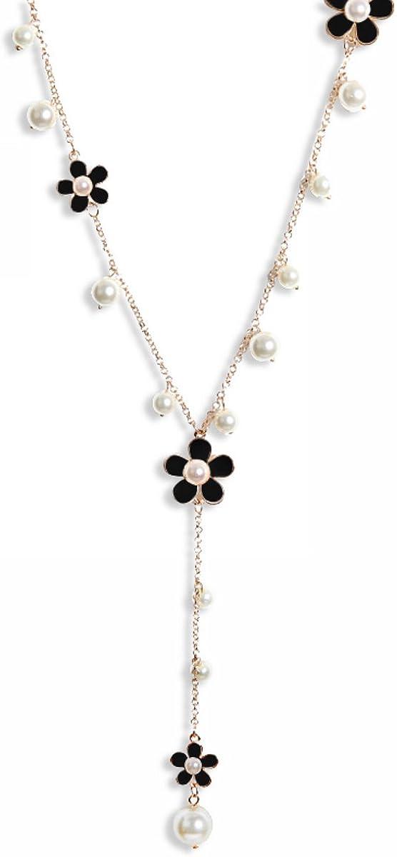 Merdia - Collar para mujer con colgantes multicapa, estilo bohemio, aleación, color negro y 66 cm de largo.