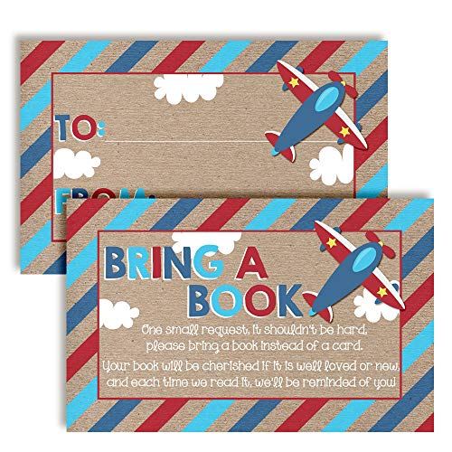 "Flying by Airplane Themed ""Bring A Book"" Cards for Boy Baby Showers, 20 2.5"