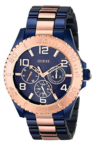GUESS Women's U0231L6 Iconic Blue Multi-Function Blue and Rose Gold-Tone Stainless Steel Watch