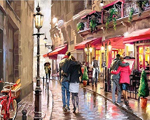 YEESAM ART DIY Paint by Numbers for Adults Beginner Kids, Richard MacNeil Couple Street 16x20 inch Linen Canvas Acrylic Stress Less Number Painting Gifts (Street, with Frame)