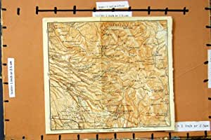 Impresión Antigua del Mapa Italia 1909 Castel Pedro Palestrina Zagarolo