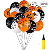 Halloween Balloons Decorations - 100 Pieces 12 Inches Pumpkin Bat Specter Spider Web Latex Balloons with a Air Pump for Halloween Party Supplies