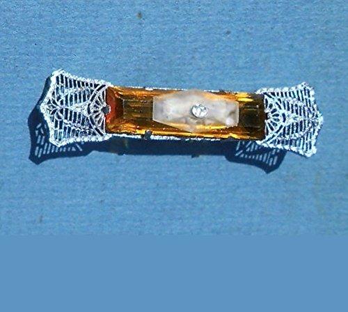 1920s Edwardian Rhodium Filigree Camphor Glass Victorian with Czech Topaz Glass & Bow Rhinestone Small Camphor Glass. Very Ornate. One of a Kind! by EMENOW