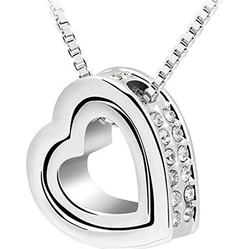 ka Double Love Heart Shape Crystal Pendant Necklace Jewelry Valentines Gift for Girlfriends (24CM/9.4, White) ()