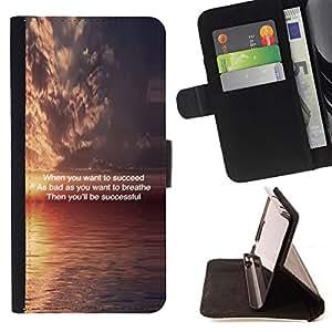 BullDog Case - FOR/Samsung Galaxy A3 / - / sunset inspiring message quote ocean /- Monedero de cuero de la PU Llevar cubierta de la caja con el ID Credit Card Slots Flip funda de cuer
