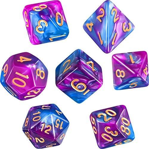 Polyhedral 7 Die Dungeons Dragons Purple